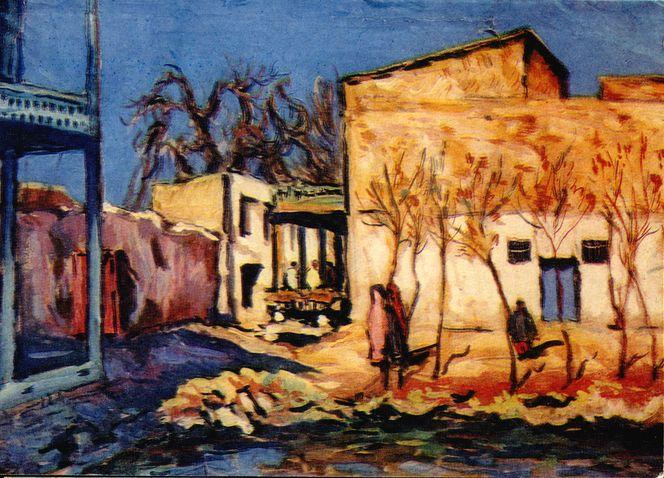 Л.Ю. Крамаренко. Хауз и чайхана. 1935. Бумага, гуаш