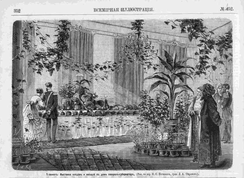 Выставка плодов и овощей в доме генерал-губернатора, 1871 год.