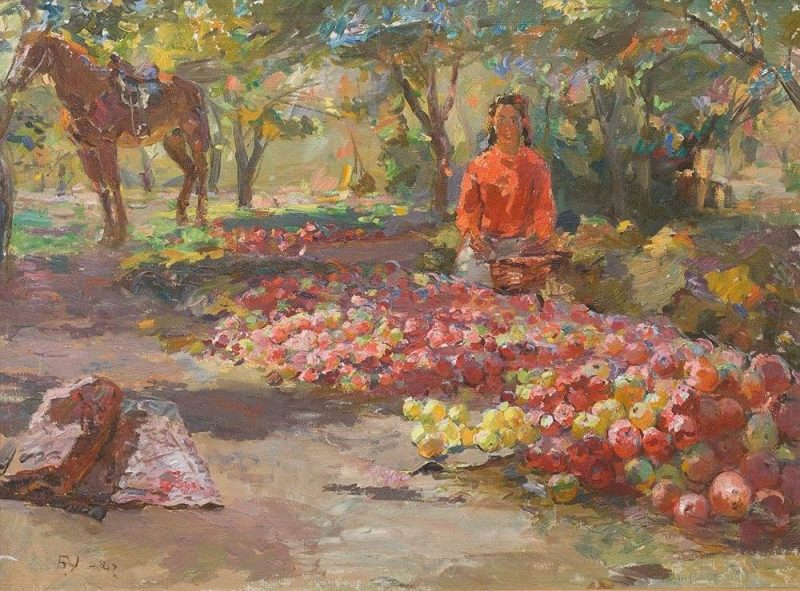 Сбор яблок. Узбекистан. 1947 г.