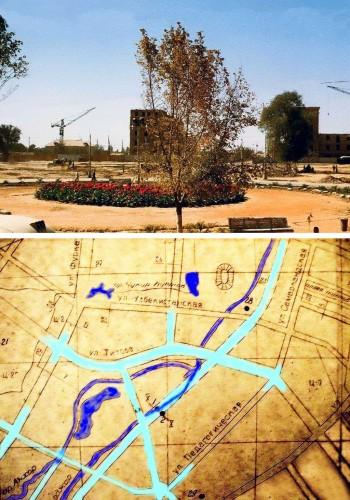 Сквер перед Пединститутом и план города
