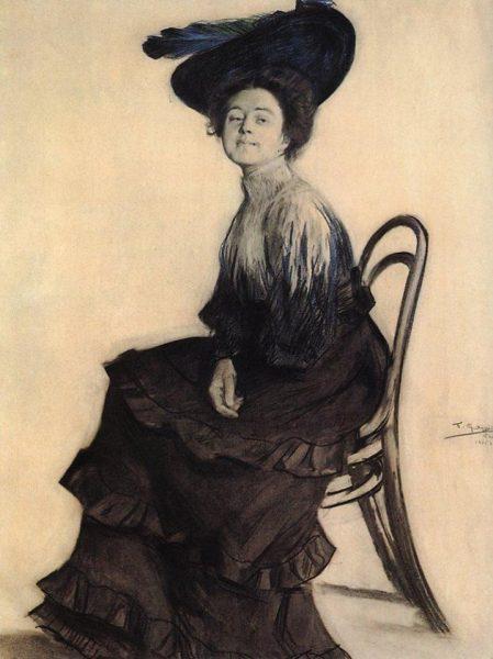 На портрете работы Бориса Кустодиева Елена Полевицкая в 1905 году. Ей тогда было 24 года. До встречи с Верой Комиссаржевской, определившей ее актерский путь, всего несколько лет...