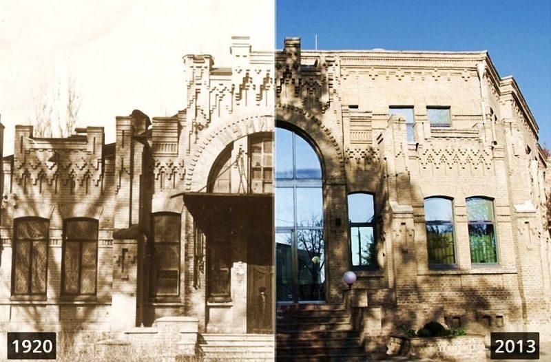 Обратите внимание слева на фото 1920 года на фронтоне Шумилова.